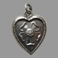 Vintage Tudor Rose Sterling Heart Charm