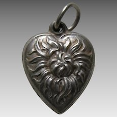 "Vintage Chrysanthemum ""Esther""  Sterling Heart Charm"