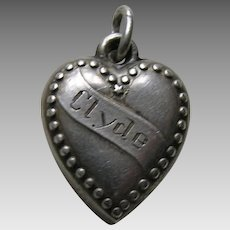 "Vintage Banner ""Clyde"" Beaded Border Sterling Heart Charm"