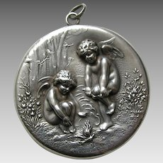 Antique Chilly Cupid Large Sterling Locket