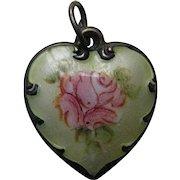 """Vintage Enameled Pink Rose Cream Background """"Nancy"""" Sterling Heart Charm"""