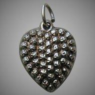 """Antique Raised Rosette """"K.H.F."""" Sterling Heart Charm"""