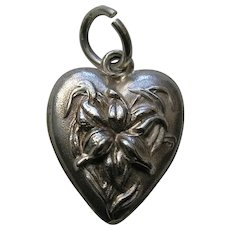 """Antique Orchid """"M.L.B."""" Sterling Heart Charm"""