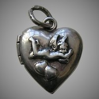 Vintage Cherub Sterling Heart Locket Charm