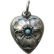 "Vintage Turquoise Paste Pansy ""Ginger"" Sterling Heart Charm"