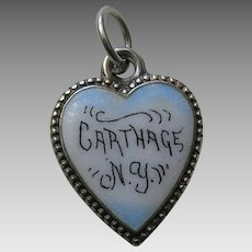 Antique Carthage N.Y. Sterling Heart Charm