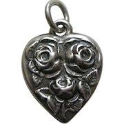 Vintage Flower of the Month June Rose Sterling Heart Charm