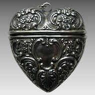 Foster and Bailey Antique Sterling Heart Chatelaine Case