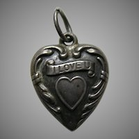 "Vintage ""I Love U""  ""Mama"" Sterling Heart Charm"