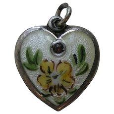 Walter Lampl Enameled Primrose Flower of the Month/Birthstone February Sterling Heart Charm