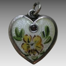 Walter Lampl Enameled Primrose Flower of the Month/Birthstone February Sterling Heart Charm