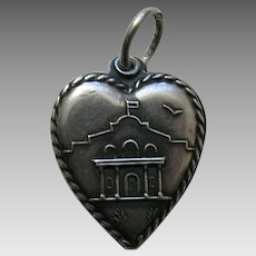 "Vintage Alamo ""Jay"" Sterling Heart Charm"