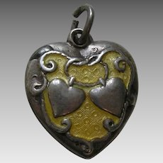 "Walter Lampl Yellow Enameled Lasso My Heart ""Gus"" Sterling Heart Charm"