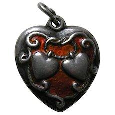 Walter Lampl Orange Enameled Lasso My Heart Sterling Heart Charm