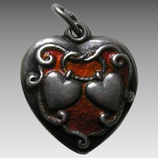Walter Lampl Orange Enameled Lasso My Heart Sterling Heart Charm