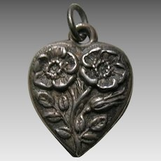 Vintage Flower of the Month February Primrose Sterling Heart Charm