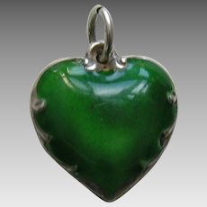 "Vintage Green Enameled ""Wendell"" Sterling Heart Charm"