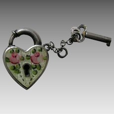 "Walter Lampl Enameled Pink Roses ""Davy"" Sterling Heart Lock and Key"