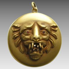 Antique Tiger Gold Filled Locket