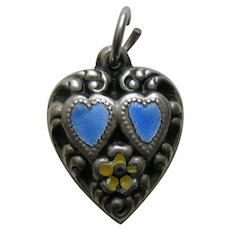 """Vintage Enameled Blue Double Heart """"Mother"""" Sterling Heart Charm"""