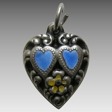 "Vintage Enameled Blue Double Heart ""Mother"" Sterling Heart Charm"