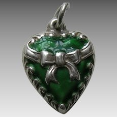 Vintage Green Enameled Bow Sterling Heart Charm