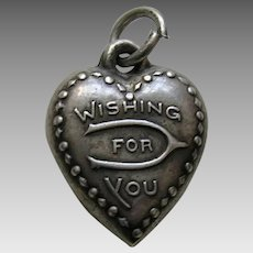 "Vintage ""Wishing For You"" Sterling Heart Charm"