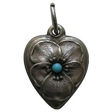 "Vintage Turquoise Paste Pansy ""Pauline"" Sterling Heart Charm"