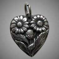 Walter Lampl Calendula October Flower of the Month Sterling Heart Charm