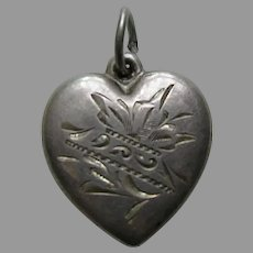 "Vintage Etched Flower ""Daddy"" Sterling Heart Charm"