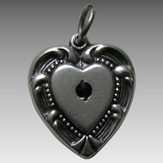"Vintage Large Sapphire Paste Scroll Border Double Sided ""E.B."" Sterling Heart Charm"