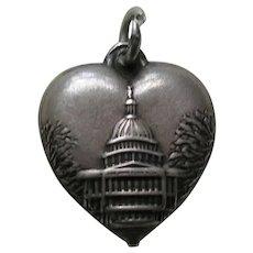 "Vintage Capitol Building ""Pat"" Sterling Heart Charm"