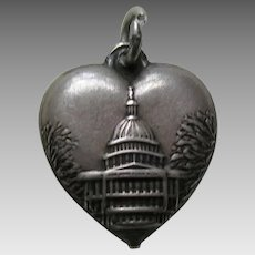 "Vintage Capitol Building ""Pat"" Sterling Heart Charm"