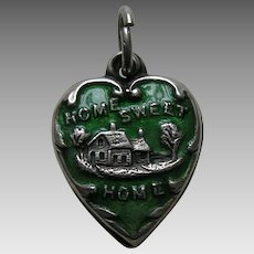 "Vintage Green Enameled Home Sweet Home ""RH""  Sterling Heart Charm"