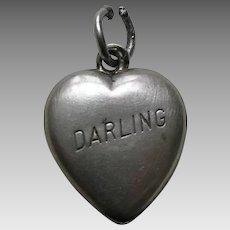 """Vintage Darling """"Mother"""" Sterling Heart Charm"""