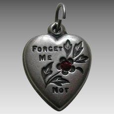 """Vintage Garnet Paste Forget-Me-Not """"Tillie"""" Sterling Heart Charm"""