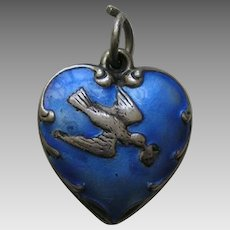 "Vintage Blue Enameled Bird and Letter ""Car"" Sterling Heart Charm"