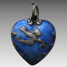 "Vintage Blue Enameled Bird and Letter ""Car"" Sterling Heart Charm"