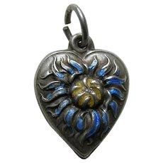 Vintage Enameled Chrysanthemum Sterling Heart Charm
