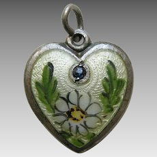 Walter Lampl Enameled Daisy Flower of the Month Dad and Joe April Sterling Heart Charm