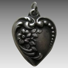 Vintage Flower Sterling Heart Charm