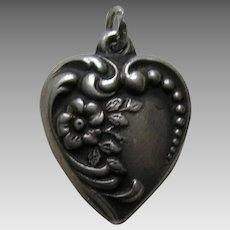 Vintage Flower Sterling Heart Charm