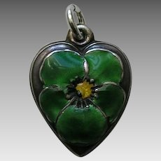 "Vintage Green Enameled Pansy ""Jack"" Sterling Heart Charm"