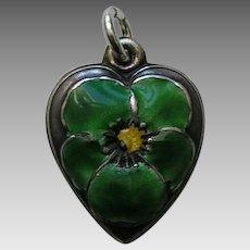 "Vintage Green Enameled Pansy ""Jack"" Sterling Heart Charm"