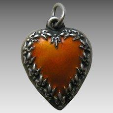 "Vintage Enameled Orange Fleur-de-lis Border ""Toni"" Sterling Heart Charm"