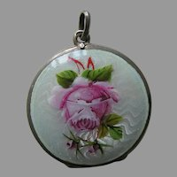"European Enameled Pink Rose ""Olive"" 800 Silver Locket"