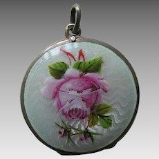 "European Enameled Pink Rose ""Olive"" 800 Silver Locket"