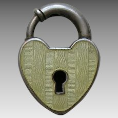 Vintage Yellow Enameled Sterling Heart Lock