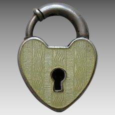 Vintage Yellow Enameled Sterling Heart Lock