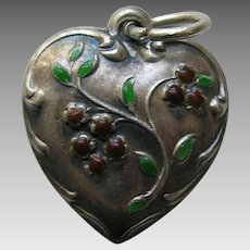 "Vintage Enameled Burnt Orange Flowers ""Molly"" Sterling Heart Charm"